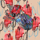 Tulipes sans couture de modèle Photographie stock