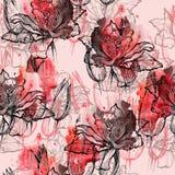 Tulipes sans couture de modèle Photos stock