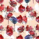 Tulipes sans couture de modèle Photographie stock libre de droits