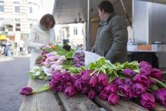 Tulipes sur le marché d'air ouvert des Hollandes avec le vendeur et le c Photo libre de droits