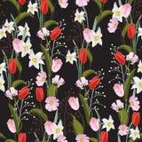 Tulipes Texture sans couture tirée par la main de vecteur Modèle floral avec le genre différent de fleurs illustration stock