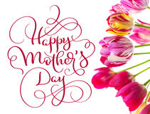 Tulipes un jour heureux blanc de mères de fond et de textes Aspiration de main de lettrage de calligraphie Photographie stock