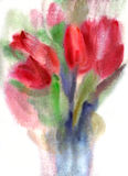 Tulips. Bouquet of red tulips. Watercolors painting Royalty Free Stock Photos