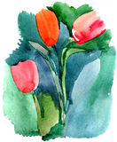 Tulips. Bouquet of tulips. Watercolors painting Stock Photo