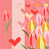 Tulips. Pink tulips on pink yellow background Royalty Free Stock Images