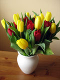 Tulips 4. Tulips in red and yellow in a white vase Stock Photos