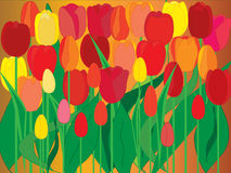 Tulips. Red and yellow tulips on brown background Stock Photography