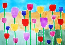 Tulips. Abstract colorful watercolor painting. Stock Photos