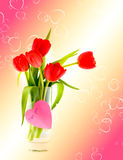 Tulips against hearts Royalty Free Stock Image