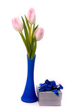 Tulips ang gift box Stock Images