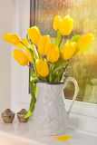 Tulips In Antique Jug Royalty Free Stock Photos
