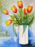 Tulips aquarella Stock Image