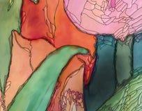 Tulips artwork closeup pink art nouveau style. Tulips artwork pink orange and green with black contour art nouveau style digital illustration closeup Stock Images