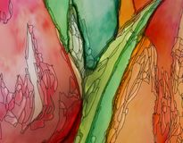 Tulips artwork red closeup art nouveau style. Tulips artwork red orange and green colors with black contour art nouveau style digital illustration closeup Royalty Free Stock Images