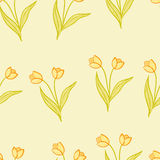 Tulips background. Stylized yellow and green spring tulips Stock Image