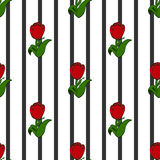 Tulips on the background of black stripes, seamless pattern. Vector royalty free illustration