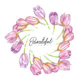 Tulips background in watercolor style, greeting card for 8 March holiday. Stock Images