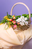 Tulips in basket Stock Photography