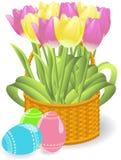 Tulips Basket Royalty Free Stock Images