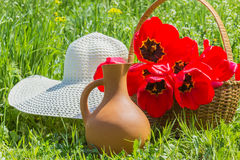 Tulips in the basket, hat and clay jug Stock Images