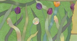 Tulips batik background royalty free stock photography