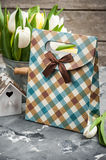 Tulips, bird house and a gift package Stock Images