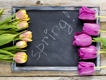 Tulips with blackboard. Easter tulips with blackboard on a wooden table stock photography