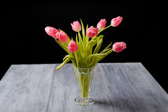 Tulips on a blue gray wood table Royalty Free Stock Image