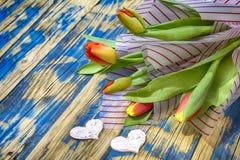 Tulips on blue wood Stock Photos