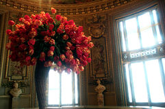 Tulips bouquet. A huge bouquet of tulips inside Versailles Museum, France stock photo