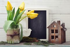 Tulips bouquet with blackboard Stock Image