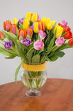 Tulips bouquet. Bunch of colourful tulips. Spring and easter flowers Stock Photos