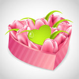 Tulips bouquet in a heart box Royalty Free Stock Photo