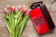 Tulips bouquet and retro phone Stock Images
