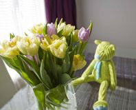 Tulips bouquet and teddybear Stock Photo