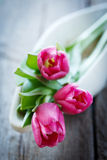 Tulips in bowl on wooden board Stock Images