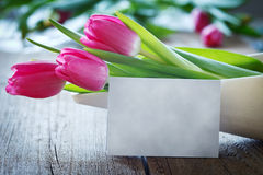 Tulips in bowl on wooden board with copyspace Royalty Free Stock Photos
