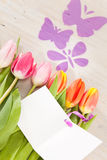 Tulips and butterflies Royalty Free Stock Photography
