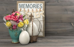 Tulips with butterflies and easter eggs Stock Photography