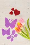 Tulips, butterflies and hearts Stock Images