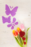 Tulips, butterflies and hearts Stock Image