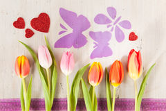 Tulips, butterflies and hearts Royalty Free Stock Images