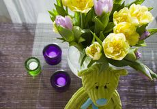 Tulips, candles and bear. Decoration of table with flowers, teddy bear and candles Stock Image