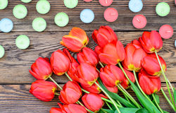 Tulips and candles Royalty Free Stock Image