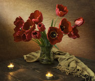 Tulips and candles. Royalty Free Stock Photos