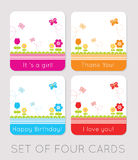 Tulips Cards. Set of four tulips cards Stock Illustration
