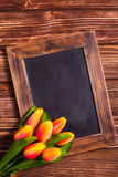 Tulips with chalkboard Royalty Free Stock Photos