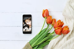 Tulips and Childs Picture for Mother`s Day Royalty Free Stock Photo