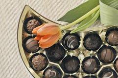 Tulips and  chocolates Stock Photos