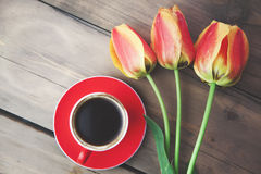 Tulips and coffee. On wooden table Stock Photography